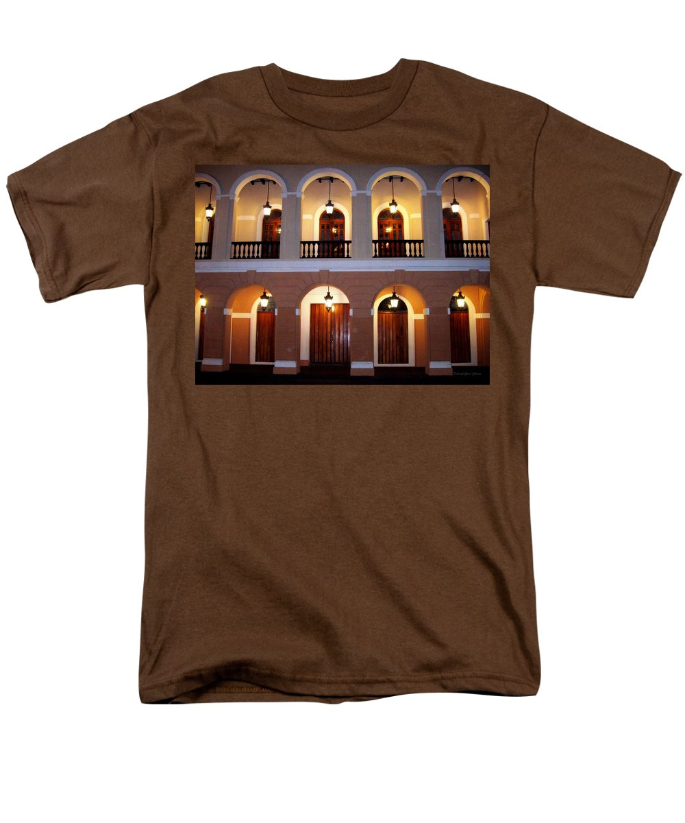 Doors Men's T-Shirt (Regular Fit) featuring the photograph Doors of San Juan Square by Deborah Crew-Johnson