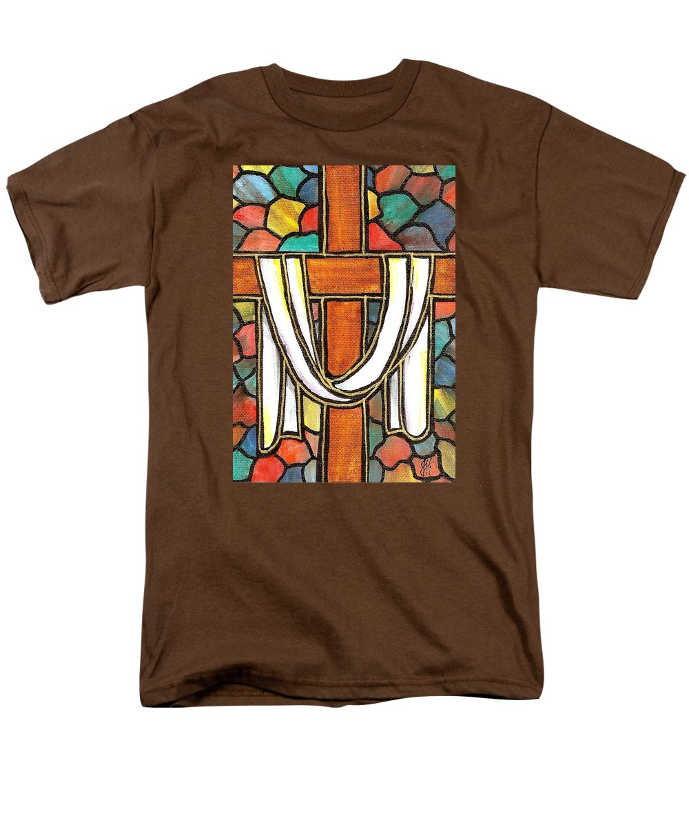 Easter Men's T-Shirt (Regular Fit) featuring the painting Easter Cross 6 by Jim Harris