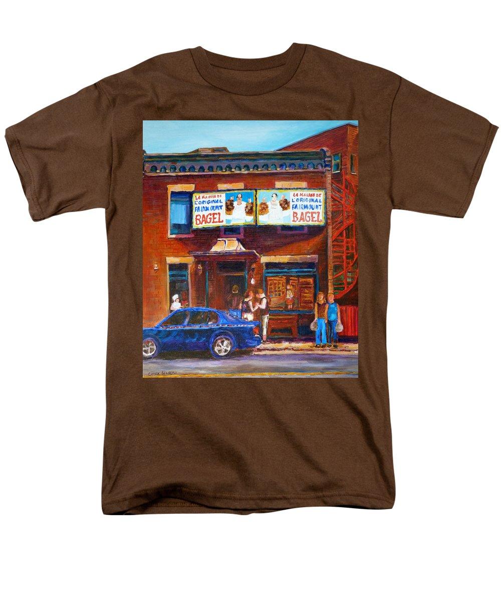 Fairmount Bagel Men's T-Shirt (Regular Fit) featuring the painting Fairmount Bagel With Blue Car by Carole Spandau