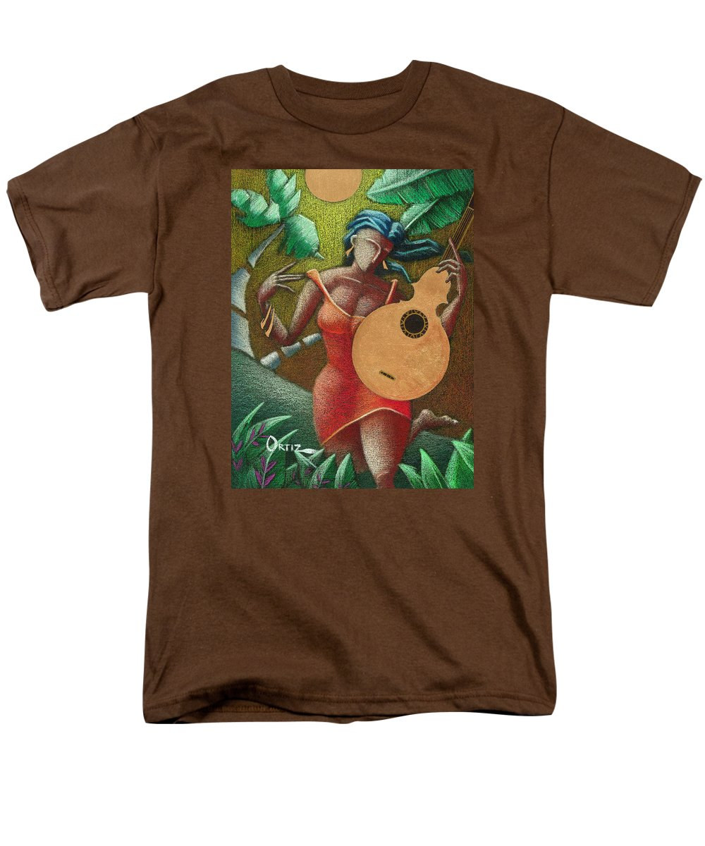 Puerto Rico Men's T-Shirt (Regular Fit) featuring the painting Fantasia Boricua by Oscar Ortiz