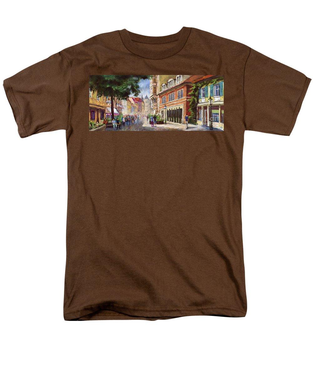 Pastel Men's T-Shirt (Regular Fit) featuring the painting Germany Baden-Baden Lange Str by Yuriy Shevchuk