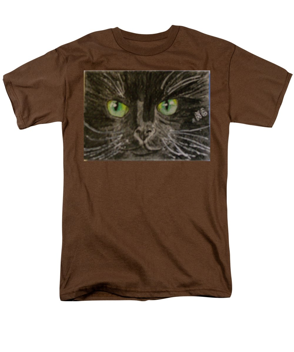 Halloween Men's T-Shirt (Regular Fit) featuring the painting Halloween Black Cat I by Kathy Marrs Chandler