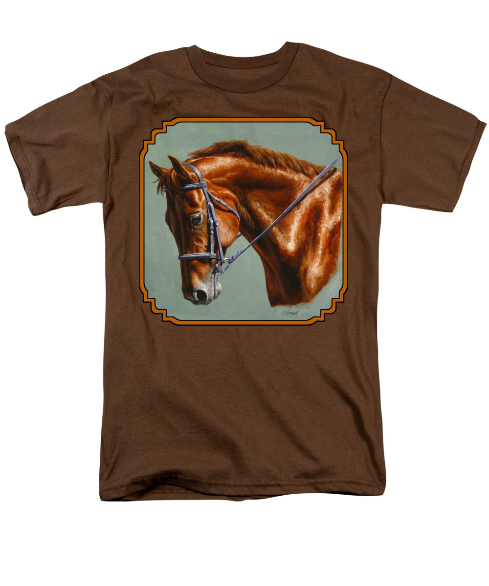 Horse Men's T-Shirt (Regular Fit) featuring the painting Horse Painting - Focus by Crista Forest