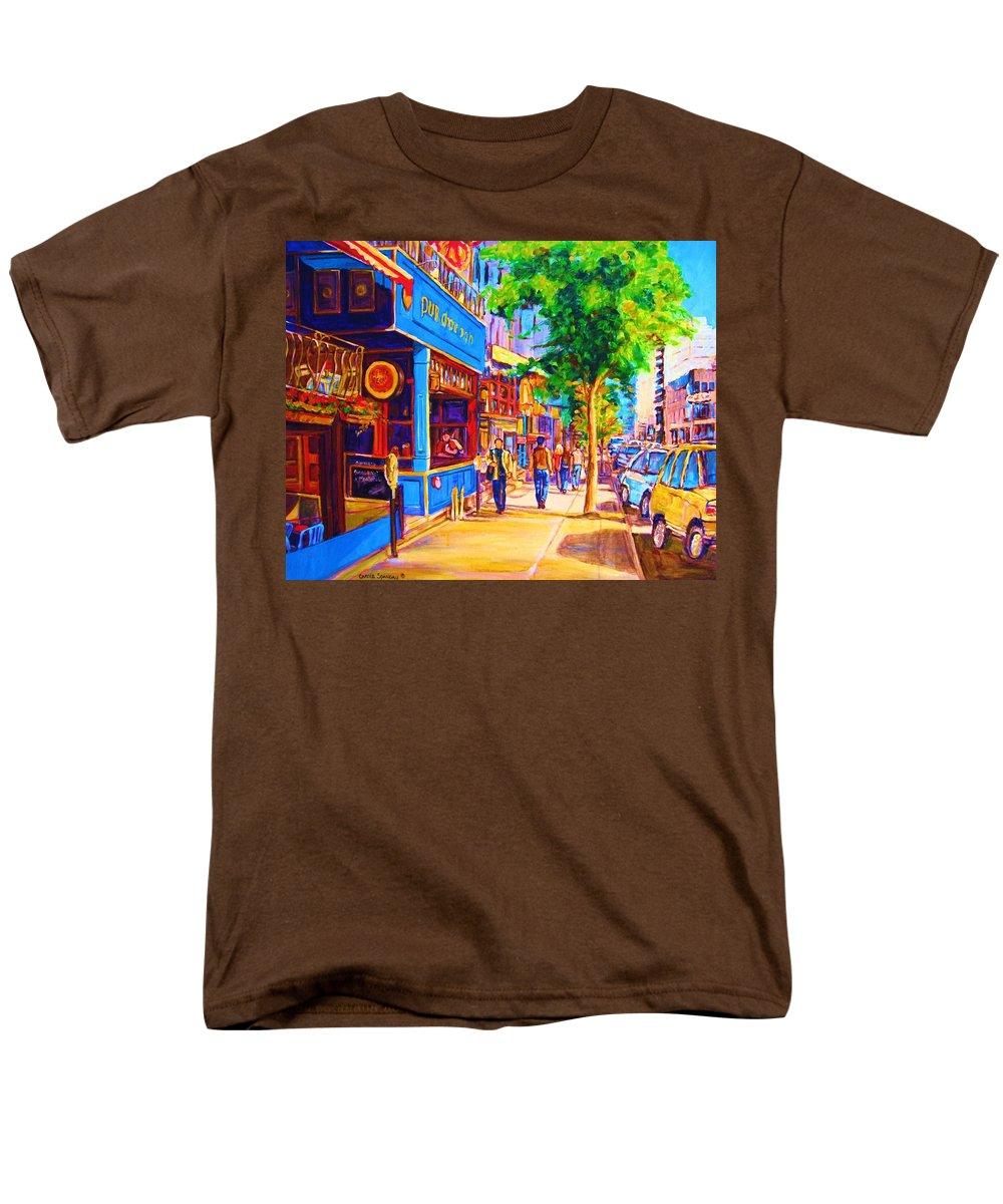 Irish Pub On Crescent Street Montreal Street Scenes Men's T-Shirt (Regular Fit) featuring the painting Irish Pub on Crescent Street by Carole Spandau