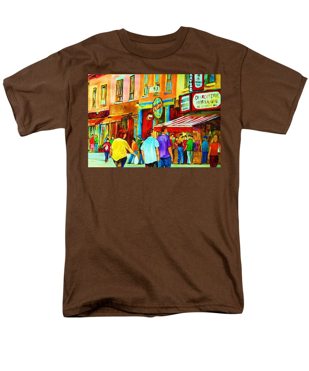 Cityscape Men's T-Shirt (Regular Fit) featuring the painting Lets Meet For Lunch by Carole Spandau