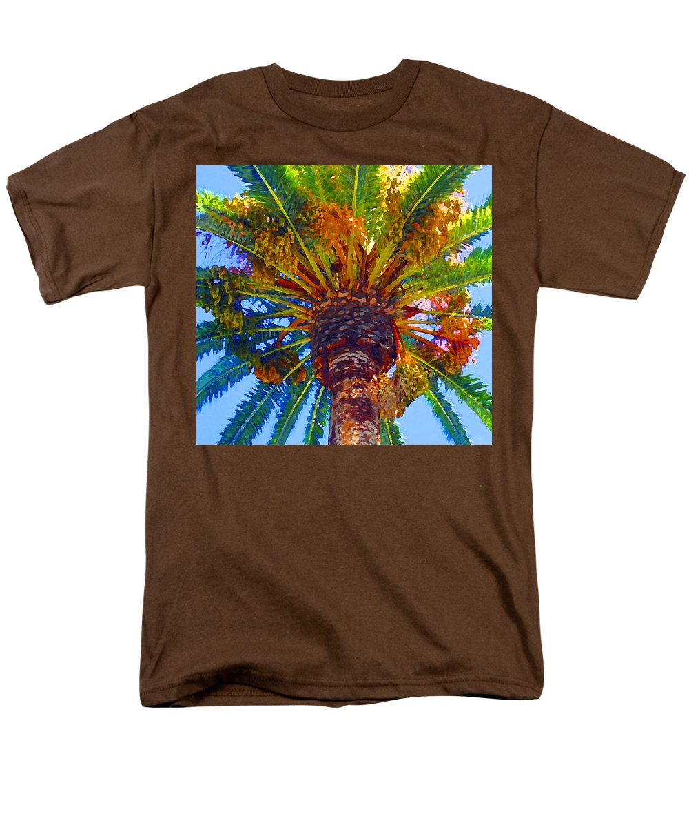 Garden Men's T-Shirt (Regular Fit) featuring the painting Looking up at Palm Tree by Amy Vangsgard