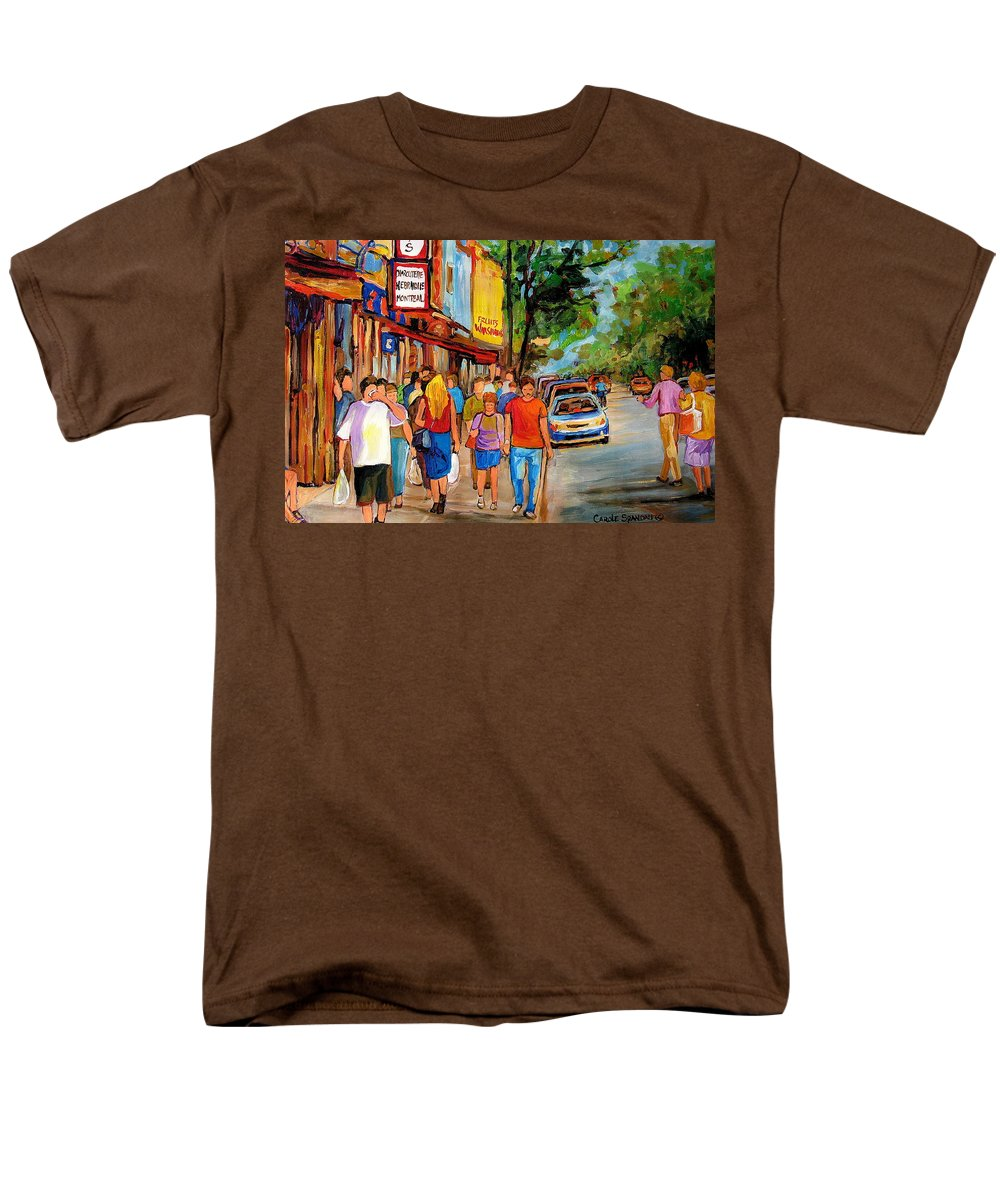 Montreal Streetscenes Men's T-Shirt (Regular Fit) featuring the painting Lunchtime On Mainstreet by Carole Spandau