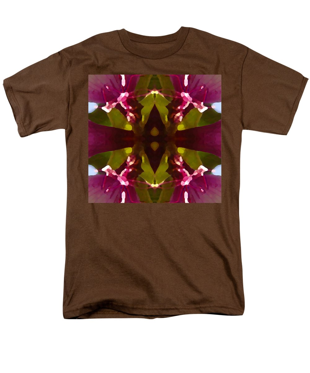 Abstract Painting Men's T-Shirt (Regular Fit) featuring the digital art Magent Crystal Flower by Amy Vangsgard