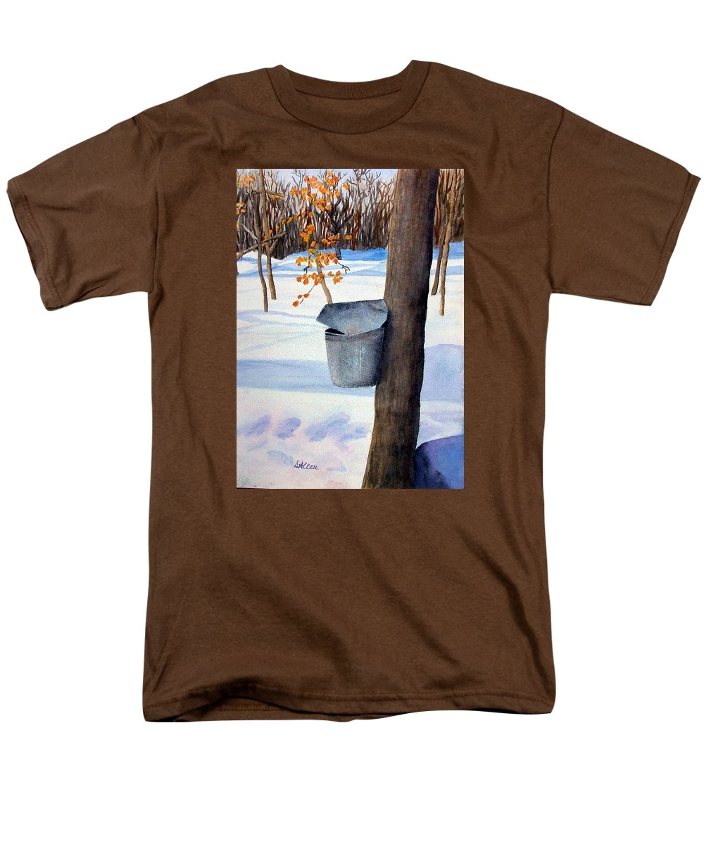 Sap Bucket. Maple Sugaring Men's T-Shirt (Regular Fit) featuring the painting Nh Goldmine by Sharon E Allen
