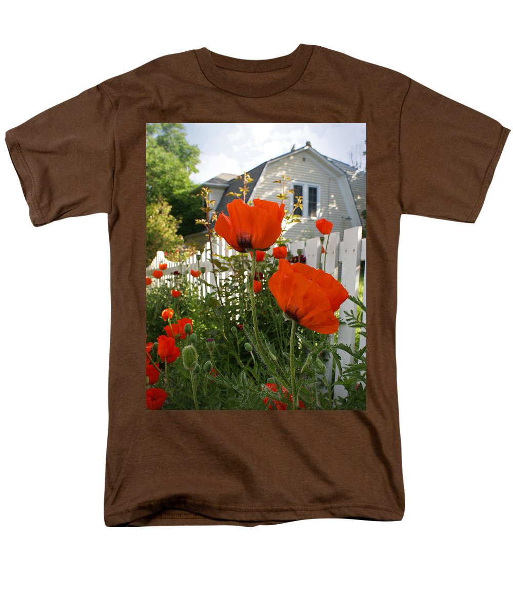 Poppies Men's T-Shirt (Regular Fit) featuring the photograph Oriental Poppies by Heather Coen