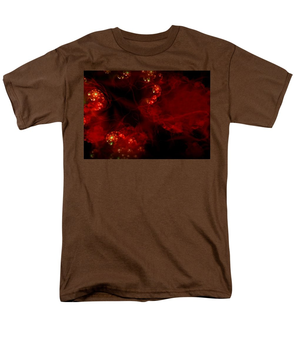 Passion Red Explosion Expression Blood Heart Men's T-Shirt (Regular Fit) featuring the digital art Passional by Veronica Jackson