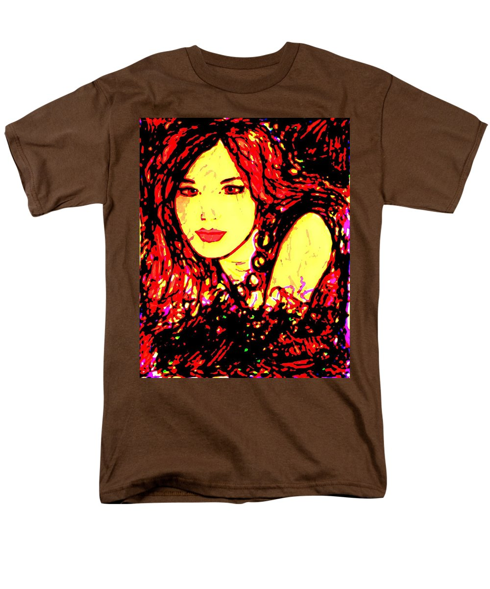 Woman Men's T-Shirt (Regular Fit) featuring the painting Red Flirt by Natalie Holland
