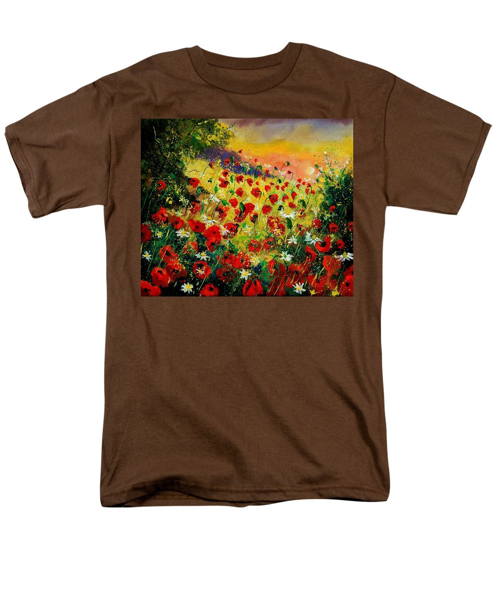 Tree Men's T-Shirt (Regular Fit) featuring the painting Red poppies by Pol Ledent