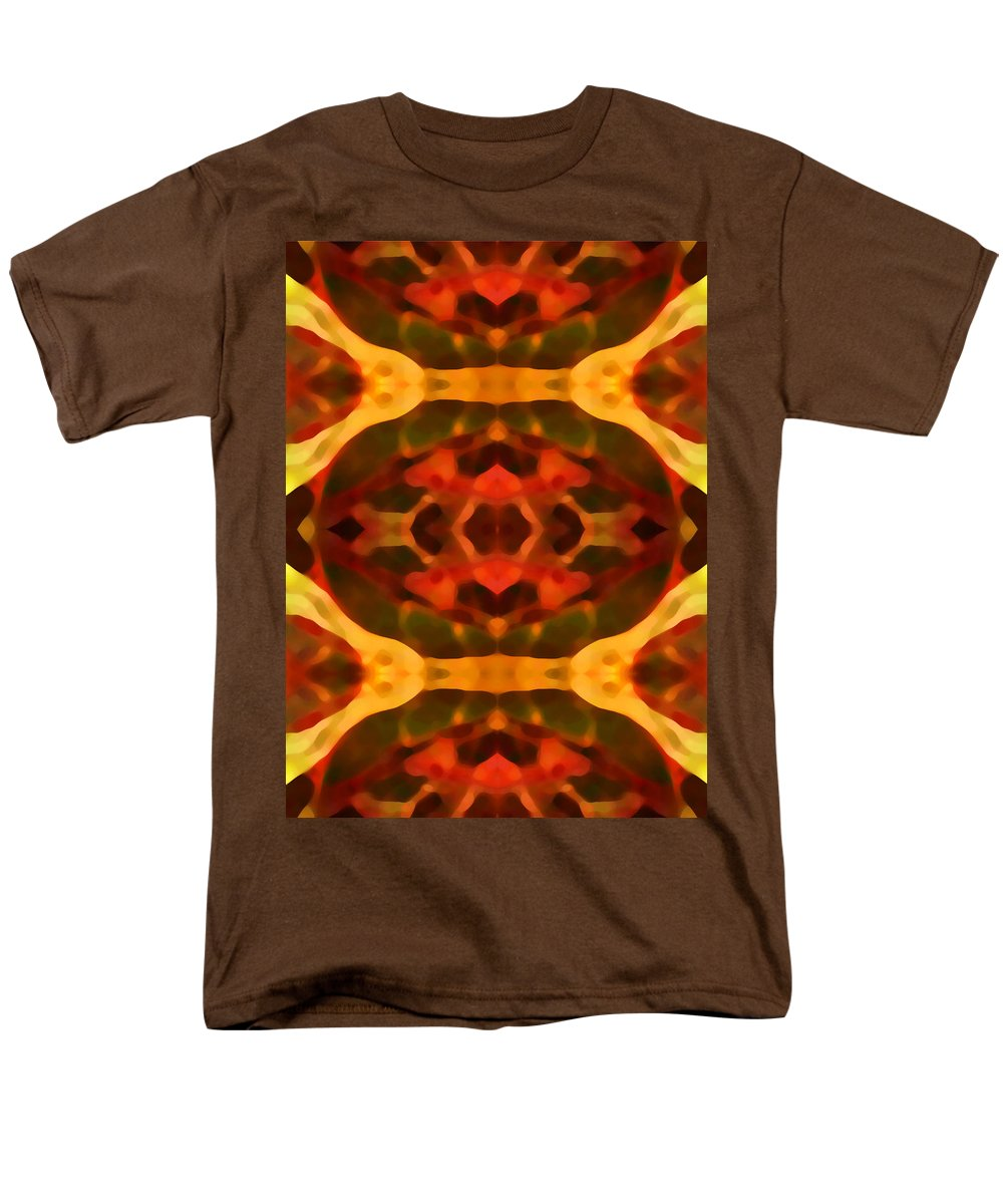 Abstract Painting Men's T-Shirt (Regular Fit) featuring the digital art Ruby Crystal Pattern by Amy Vangsgard