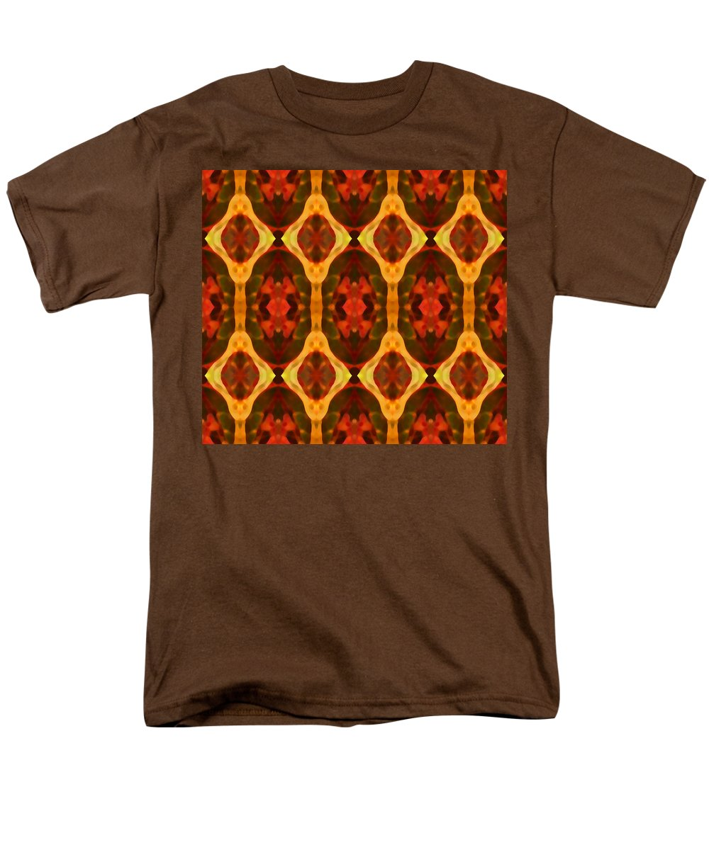Abstract Men's T-Shirt (Regular Fit) featuring the painting Ruby Glow Pattern by Amy Vangsgard