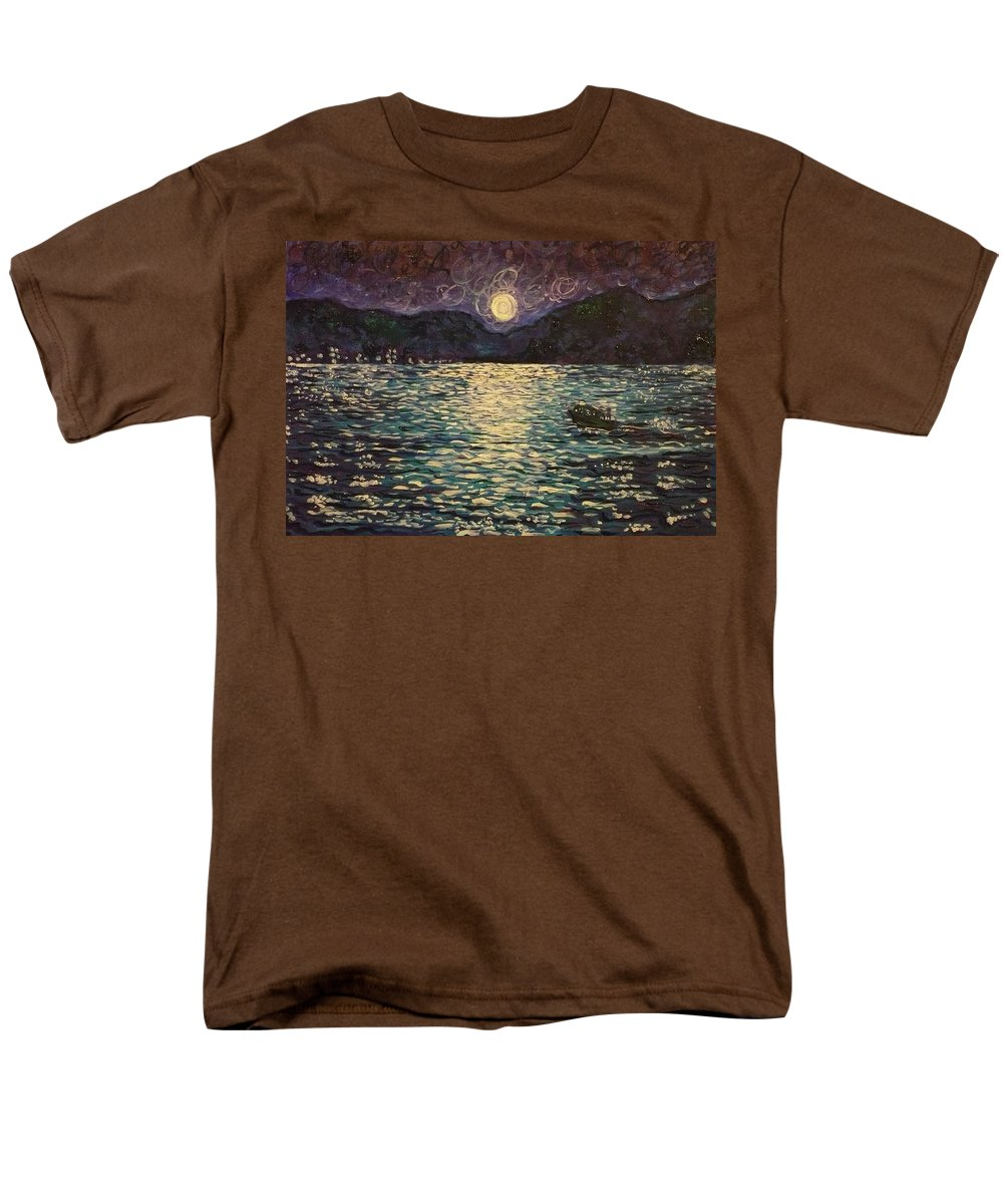 Landscape Men's T-Shirt (Regular Fit) featuring the painting Silver sea by Ericka Herazo