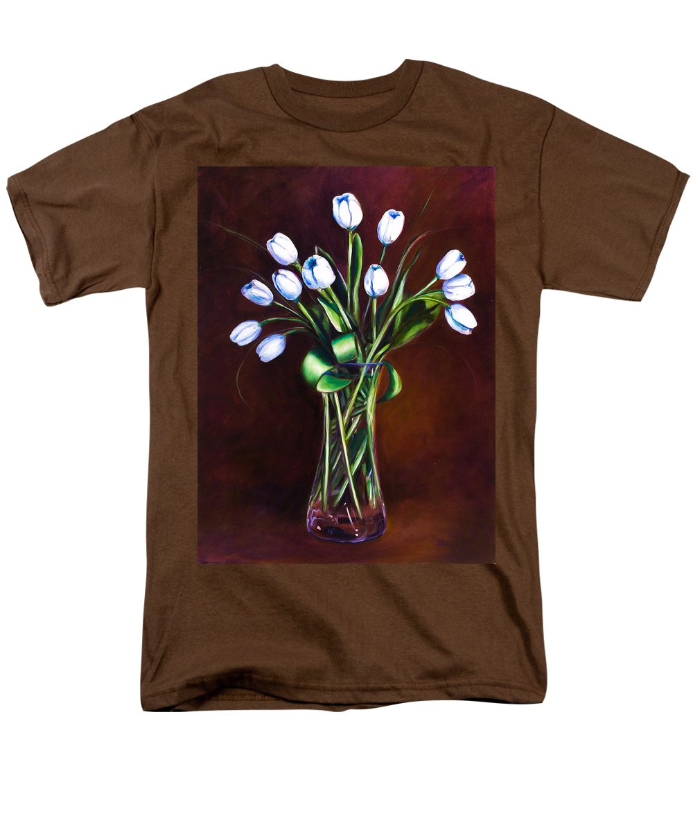 Shannon Grissom Men's T-Shirt (Regular Fit) featuring the painting Simply Tulips by Shannon Grissom