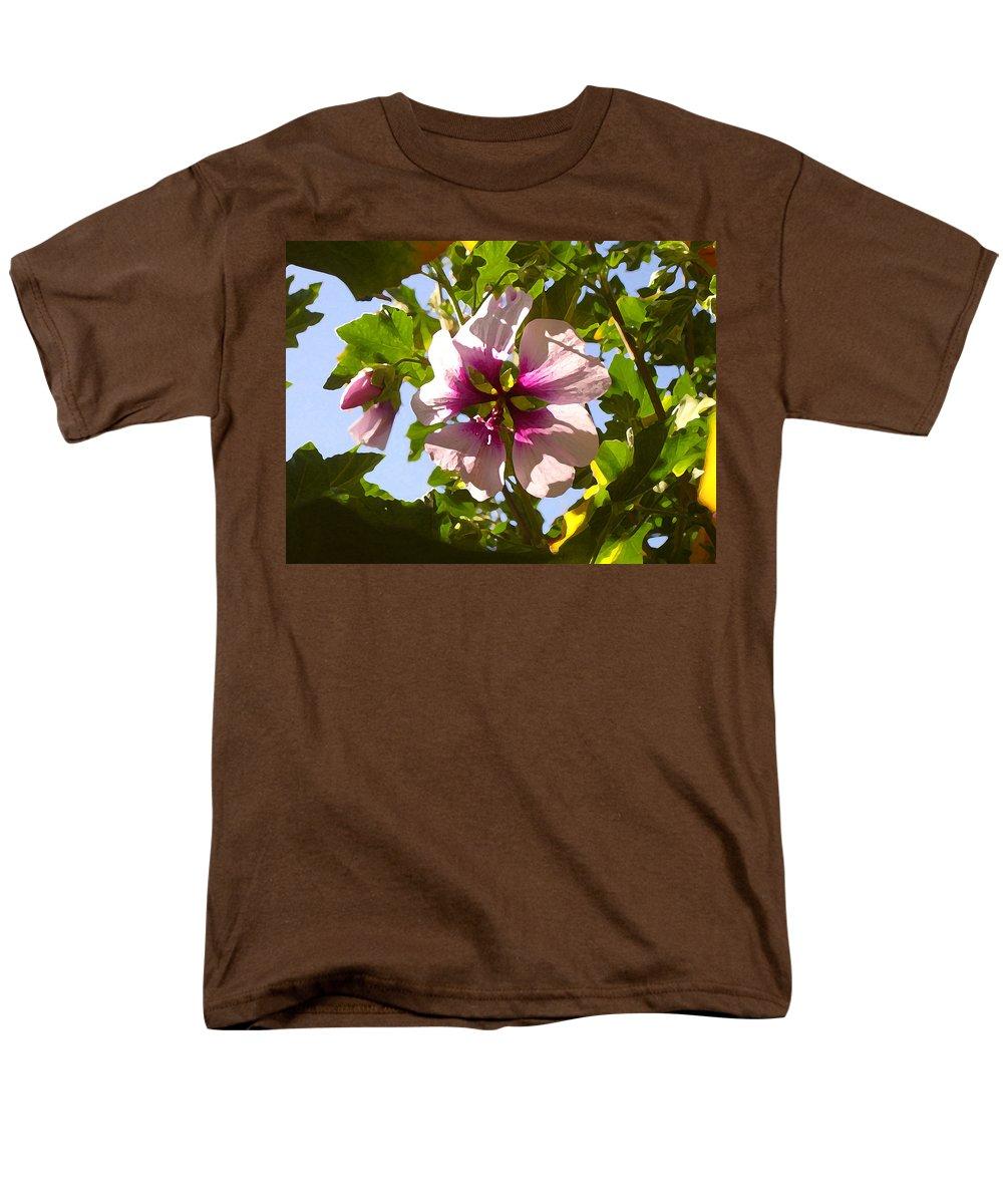 Flower Men's T-Shirt (Regular Fit) featuring the painting Spring Flower Peeking Out by Amy Vangsgard