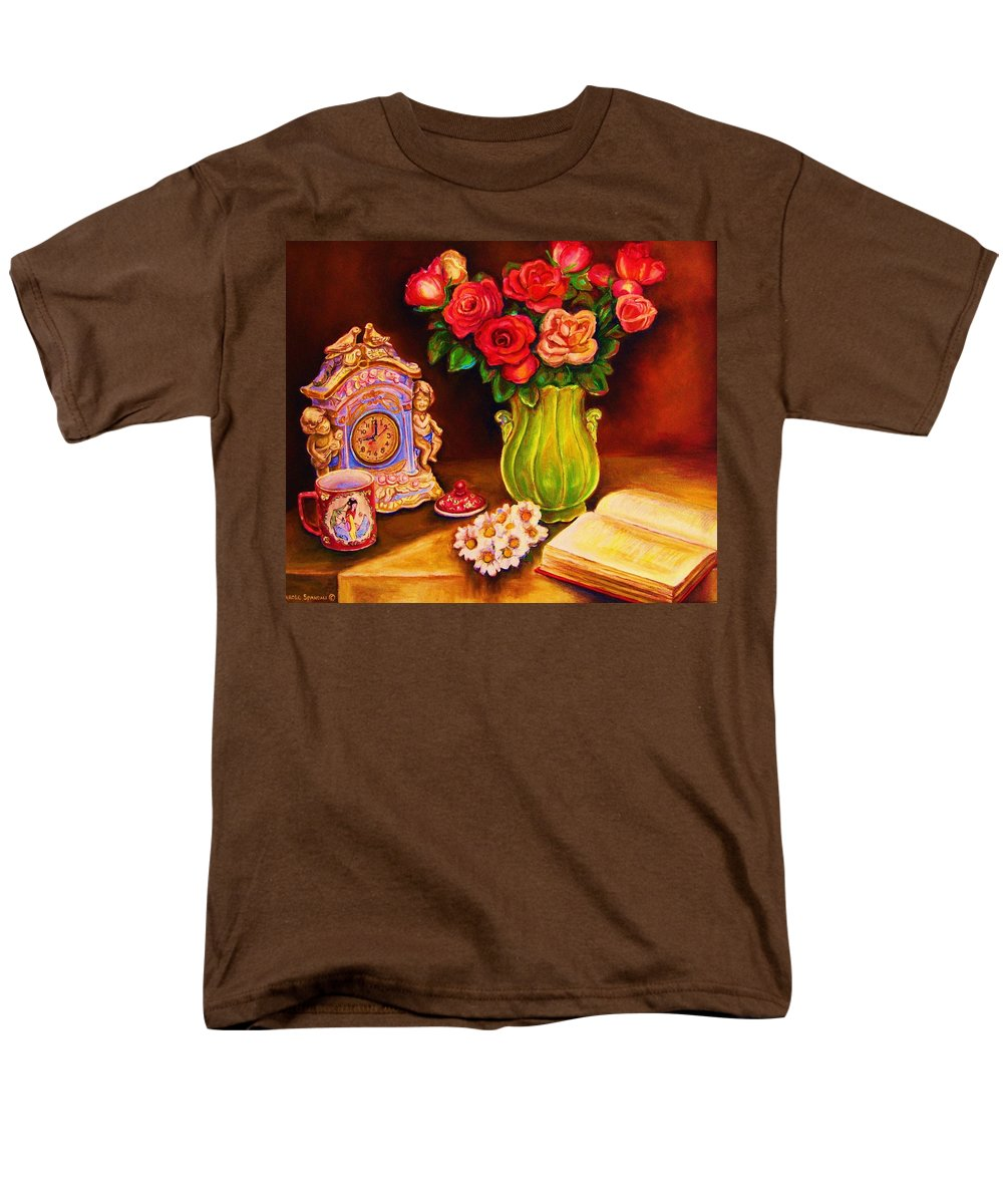 Impressionism Men's T-Shirt (Regular Fit) featuring the painting Teacup And Roses by Carole Spandau