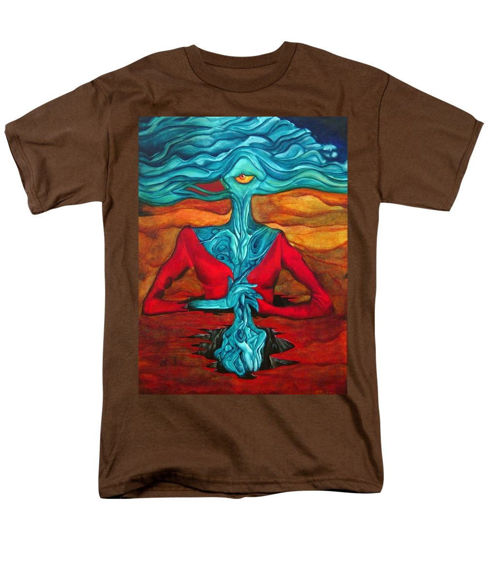 Feast Woman Blue Eye Eat Red Earth Men's T-Shirt (Regular Fit) featuring the painting The Feast by Veronica Jackson
