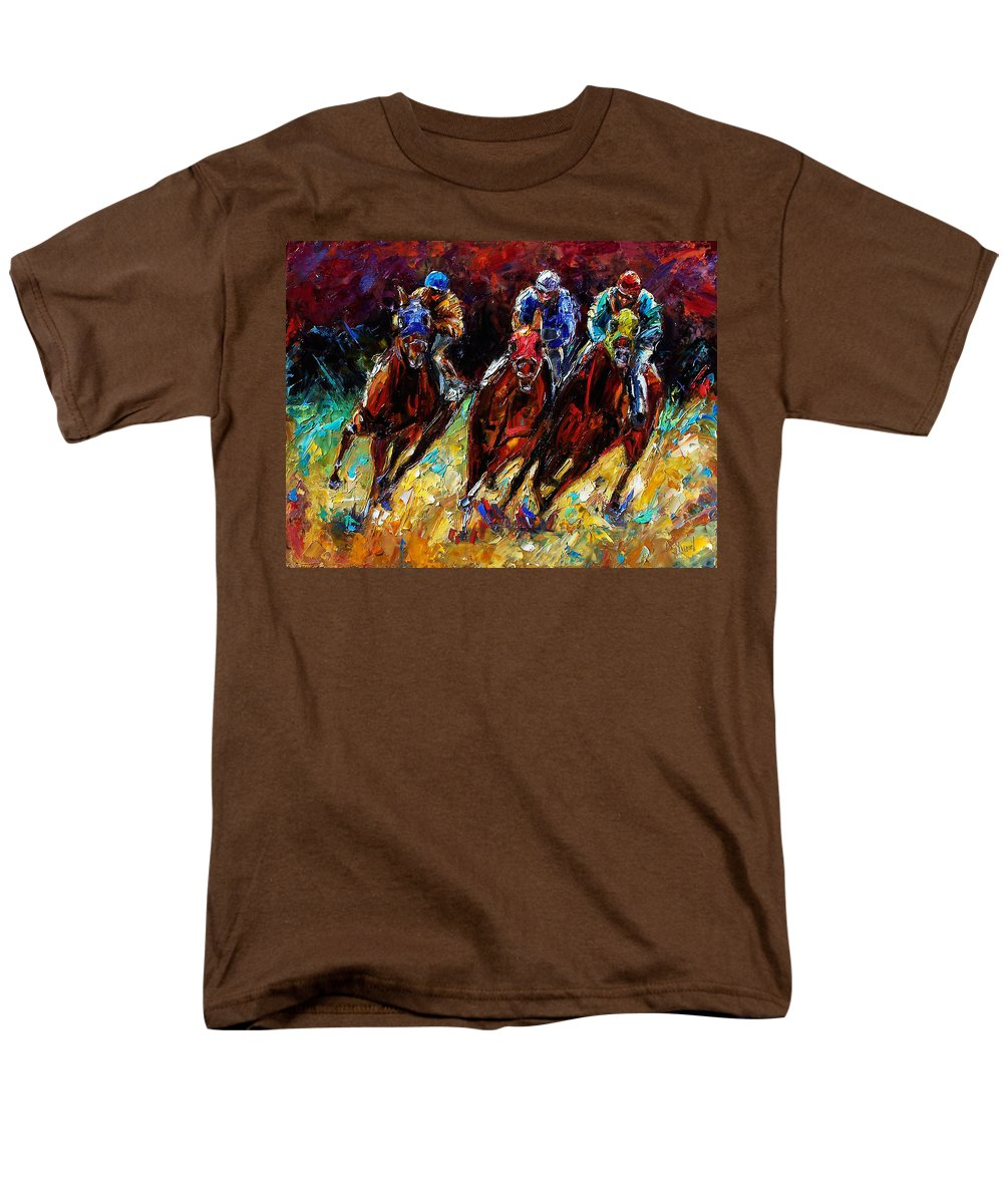 Horses Paintings Men's T-Shirt (Regular Fit) featuring the painting The Turn by Debra Hurd
