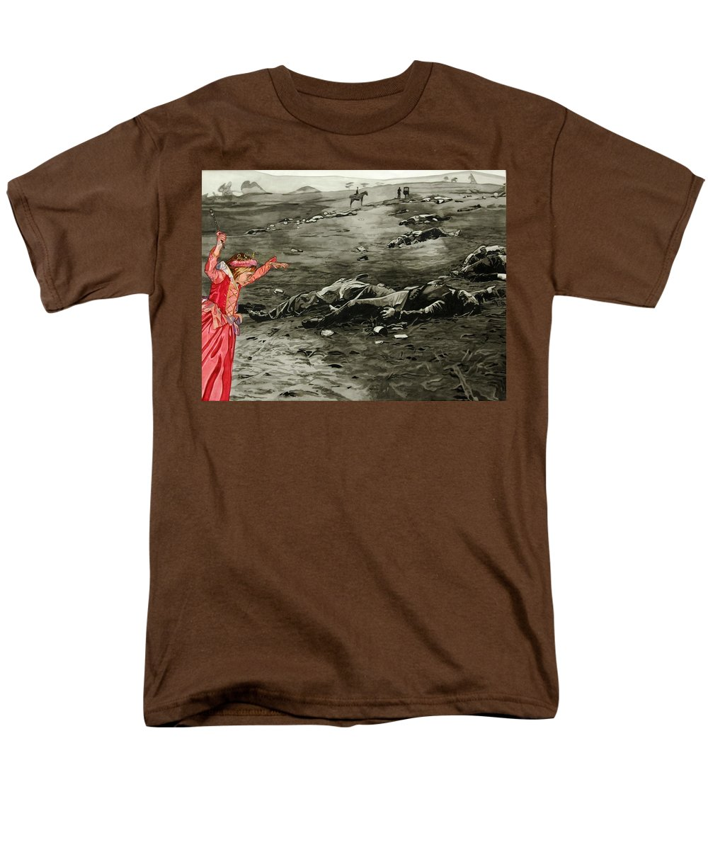 War Men's T-Shirt (Regular Fit) featuring the painting Too Late by Valerie Patterson