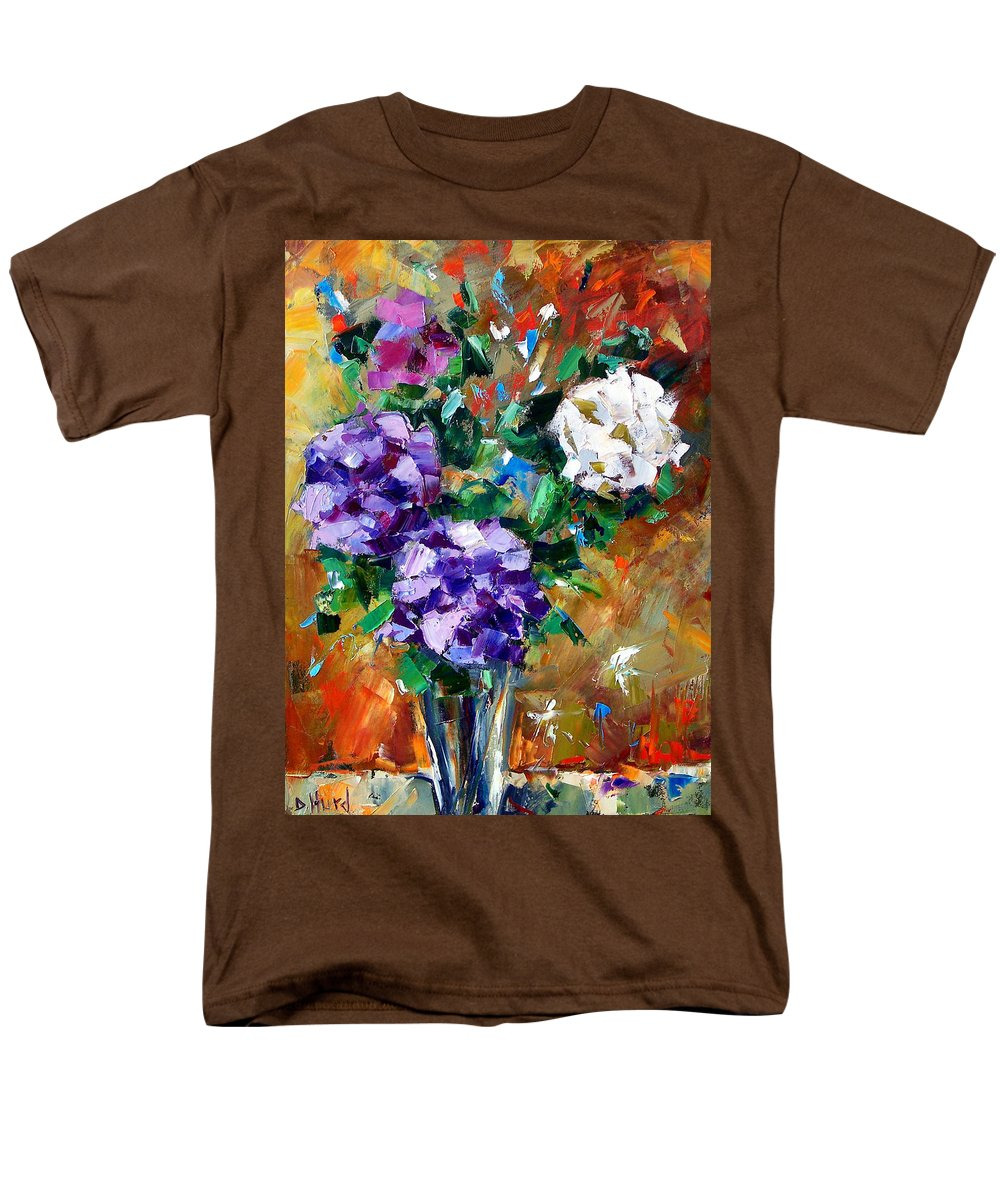 Flowers Men's T-Shirt (Regular Fit) featuring the painting Vase Of Color by Debra Hurd