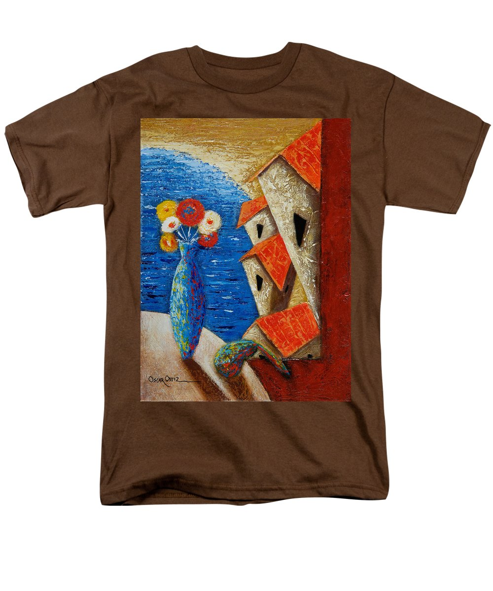 Landscape Men's T-Shirt (Regular Fit) featuring the painting Ventana Al Mar by Oscar Ortiz