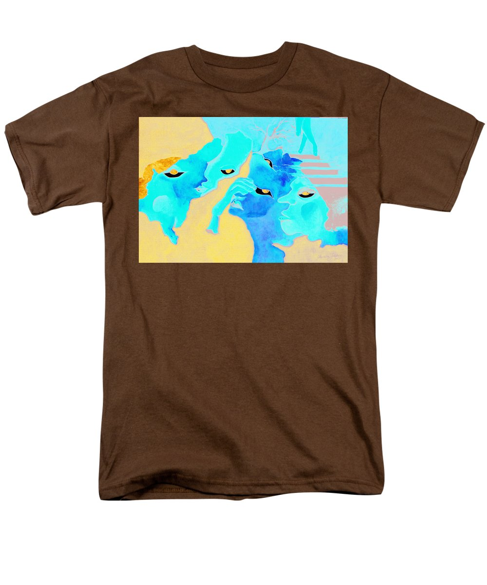 Lost Curious Red Blue People Men's T-Shirt (Regular Fit) featuring the painting Where was I by Veronica Jackson