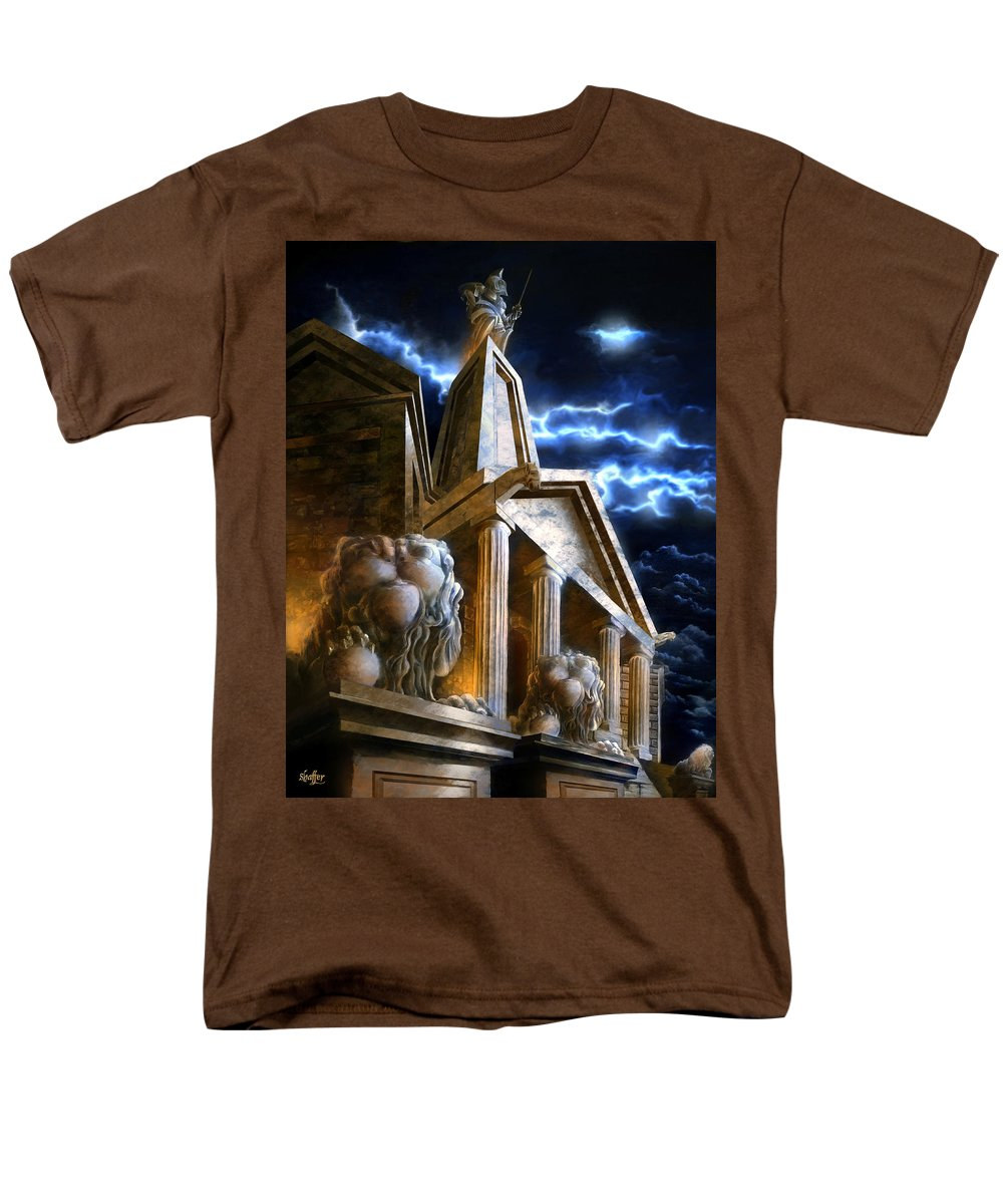Hercules Men's T-Shirt (Regular Fit) featuring the mixed media Temple of Hercules in Kassel by Curtiss Shaffer