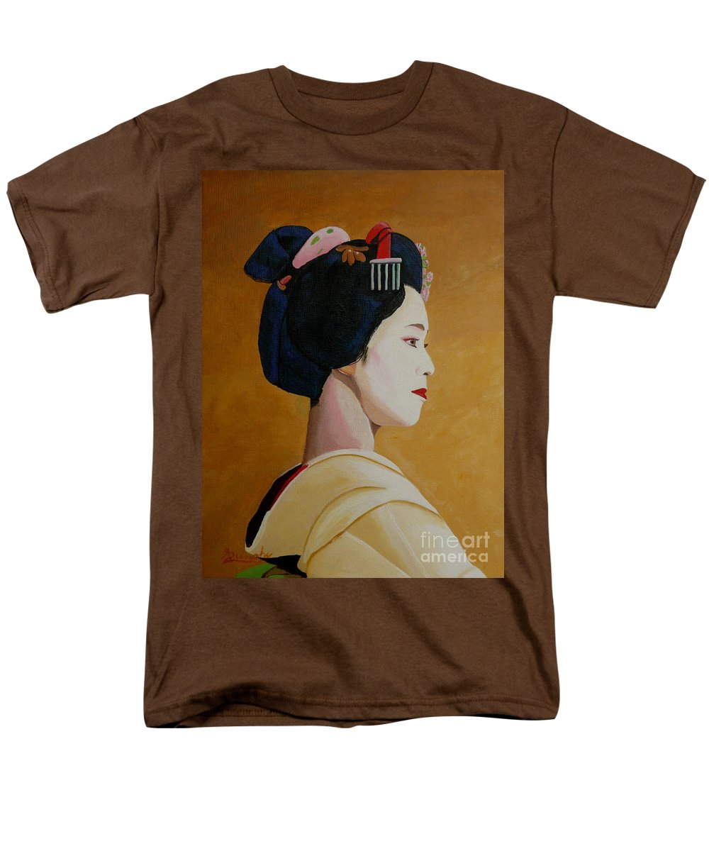 Japan Men's T-Shirt (Regular Fit) featuring the painting The Geisha by Anthony Dunphy