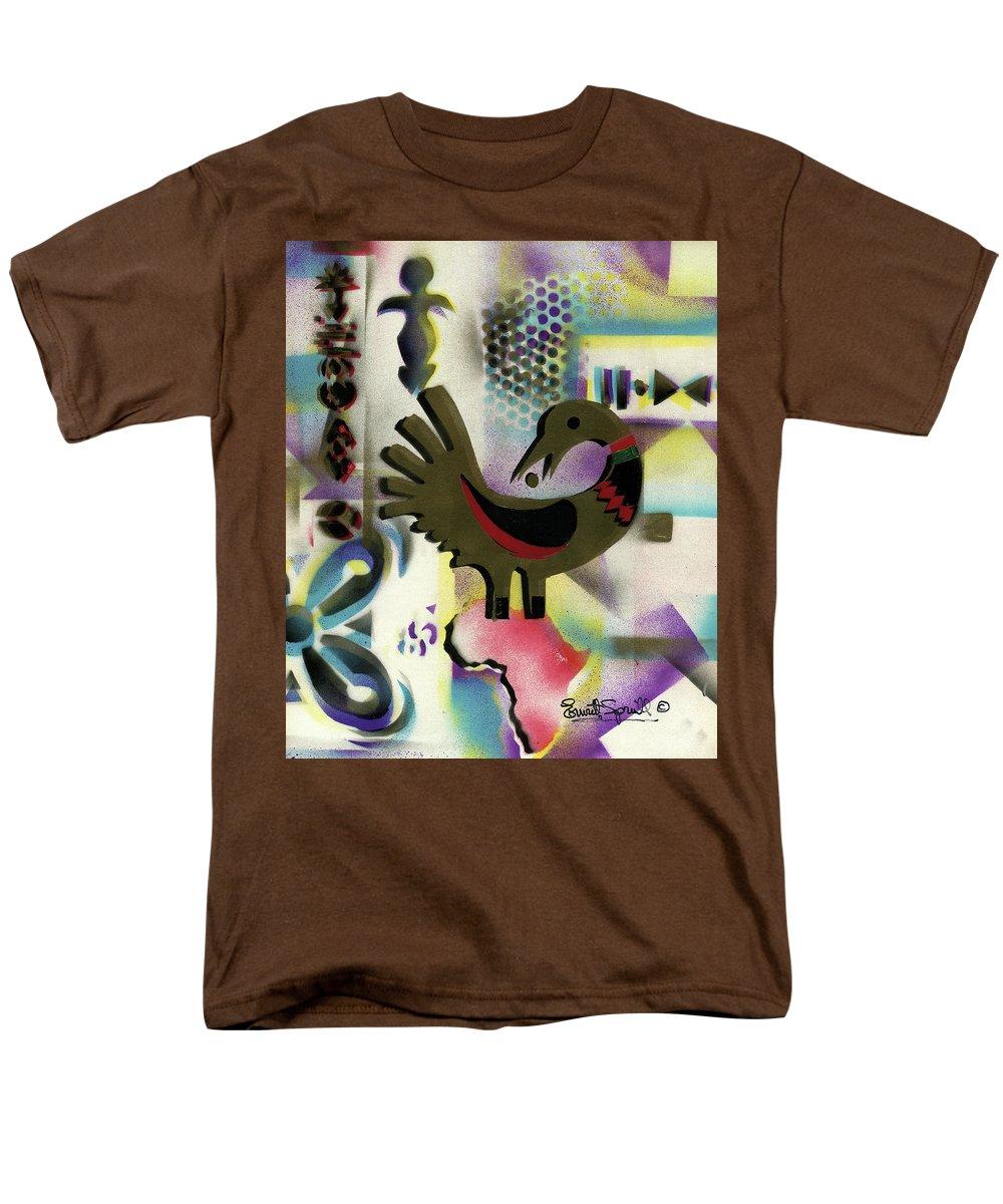 Everett Spruill Men's T-Shirt (Regular Fit) featuring the painting Afro - Aesthetic - K - Sankofa Bird and Adinkra symbol for Abundance by Everett Spruill