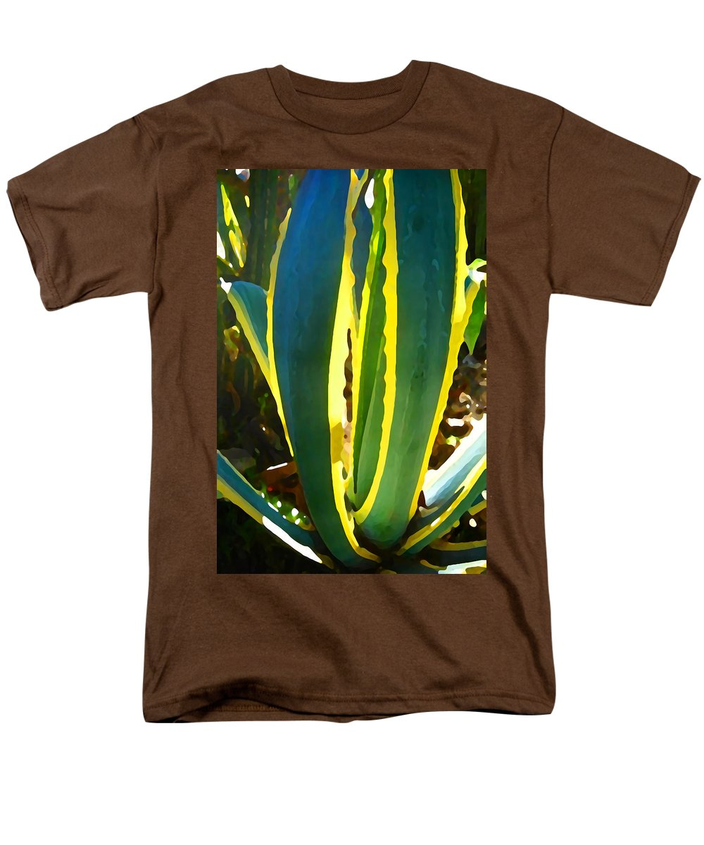 Succulent Men's T-Shirt (Regular Fit) featuring the painting Backlit Agave Americana by Amy Vangsgard