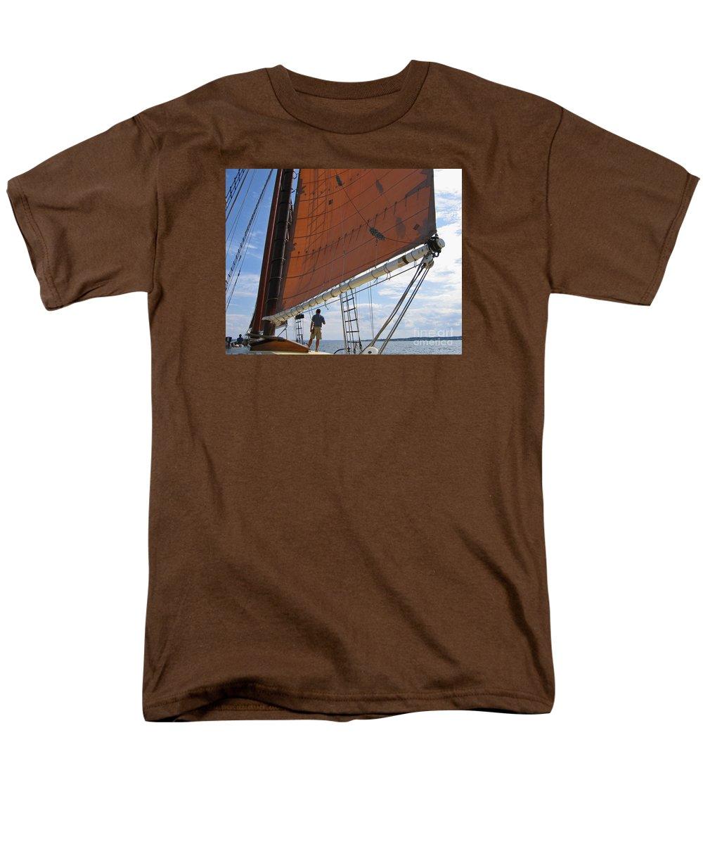 Sailing Men's T-Shirt (Regular Fit) featuring the photograph Schooner Aweigh by Ann Horn