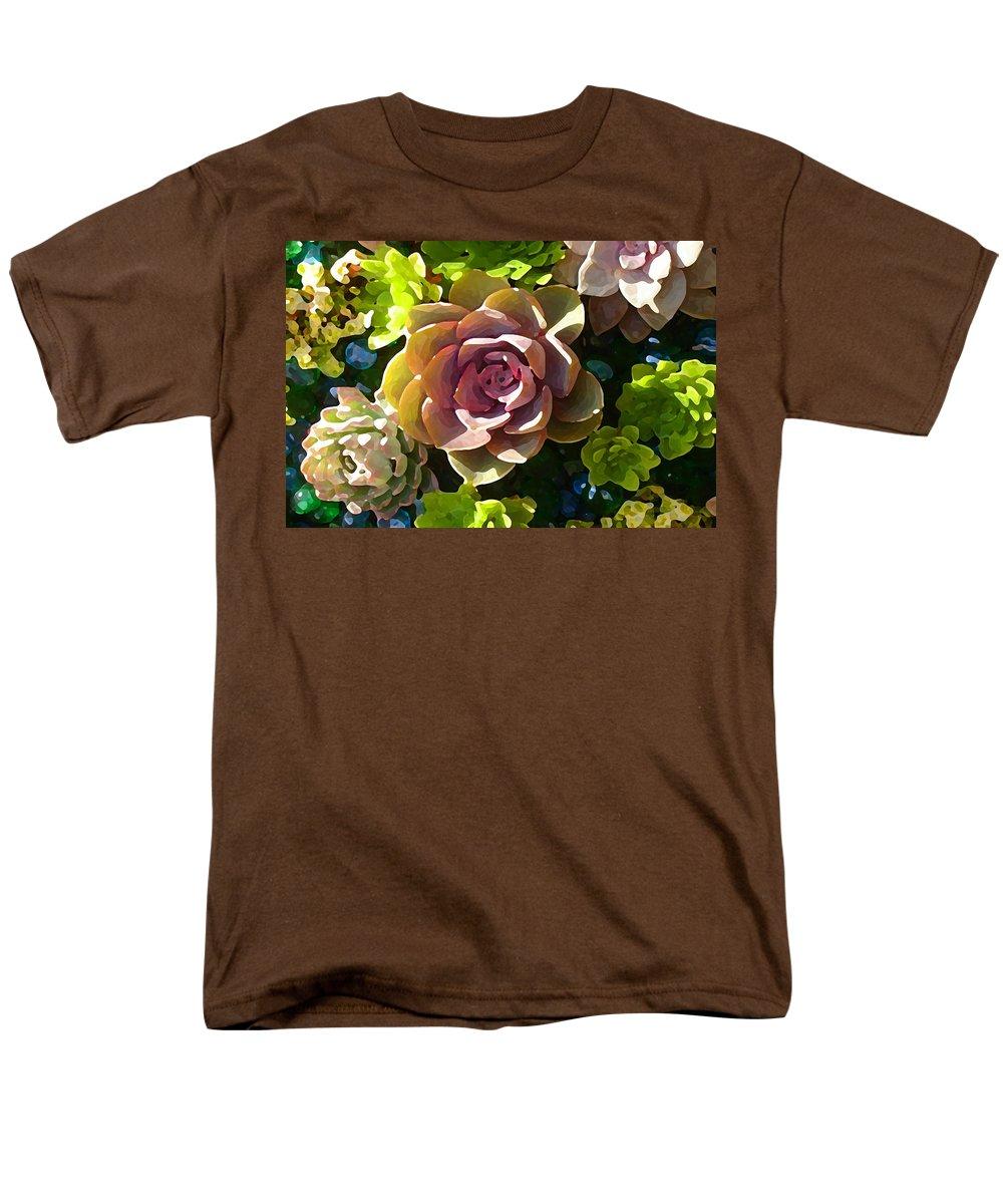 Succulent Men's T-Shirt (Regular Fit) featuring the painting Succulent Pond 3 by Amy Vangsgard