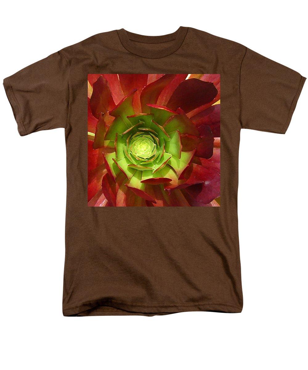 Succulent Men's T-Shirt (Regular Fit) featuring the photograph Succulent Square Close Up 2 by Amy Vangsgard