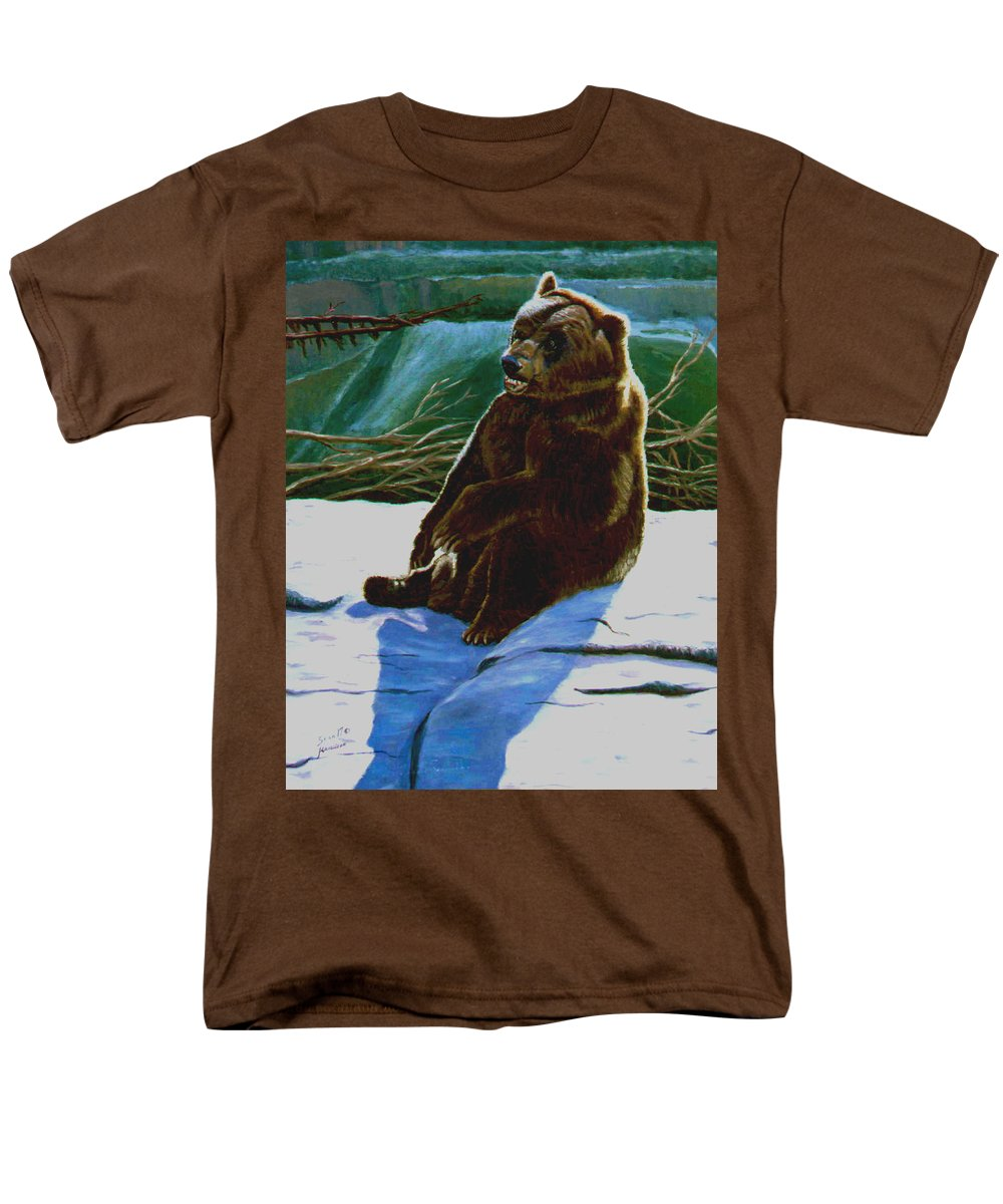 Original Oil On Canvas Men's T-Shirt (Regular Fit) featuring the painting The Bear by Stan Hamilton