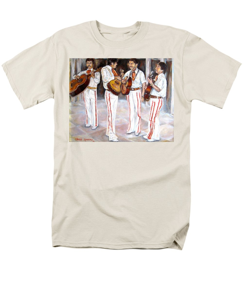 Mariachis Men's T-Shirt (Regular Fit) featuring the painting Mariachi Musicians by Carole Spandau