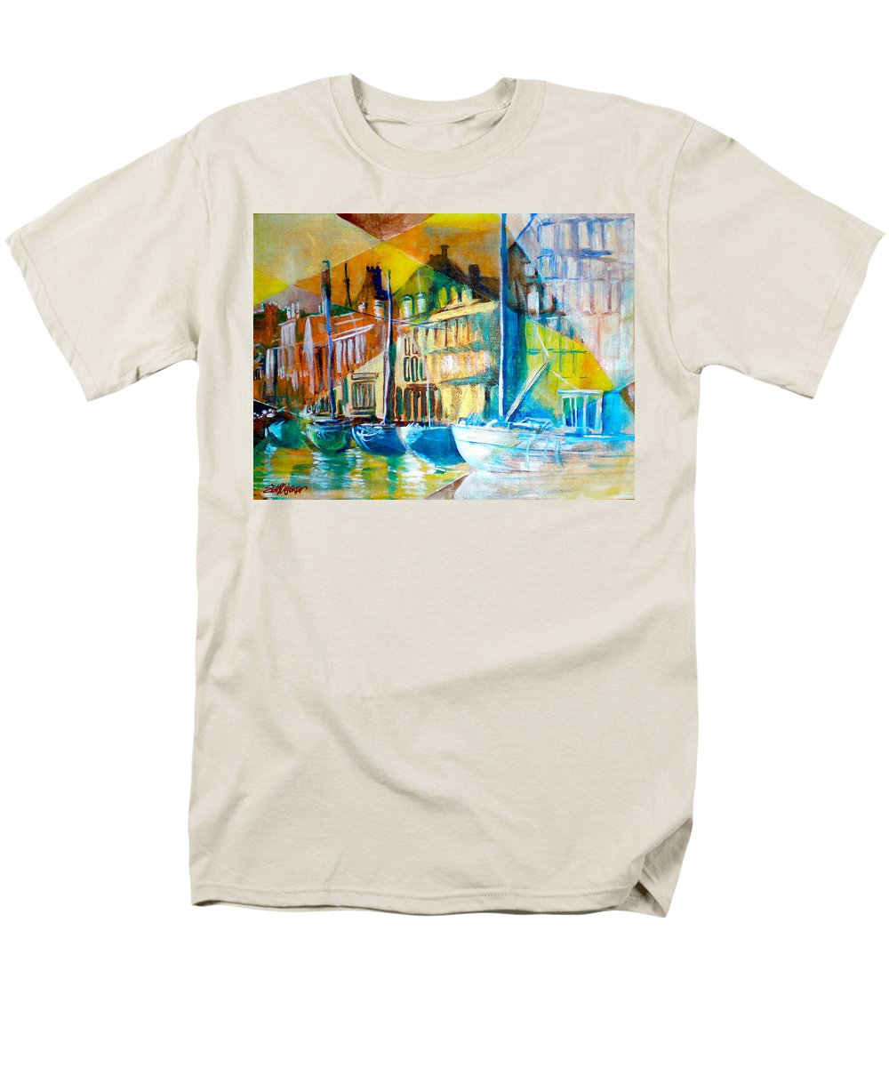 Old World Street Men's T-Shirt (Regular Fit) featuring the painting Old Copenhagen thru Stained Glass by Seth Weaver