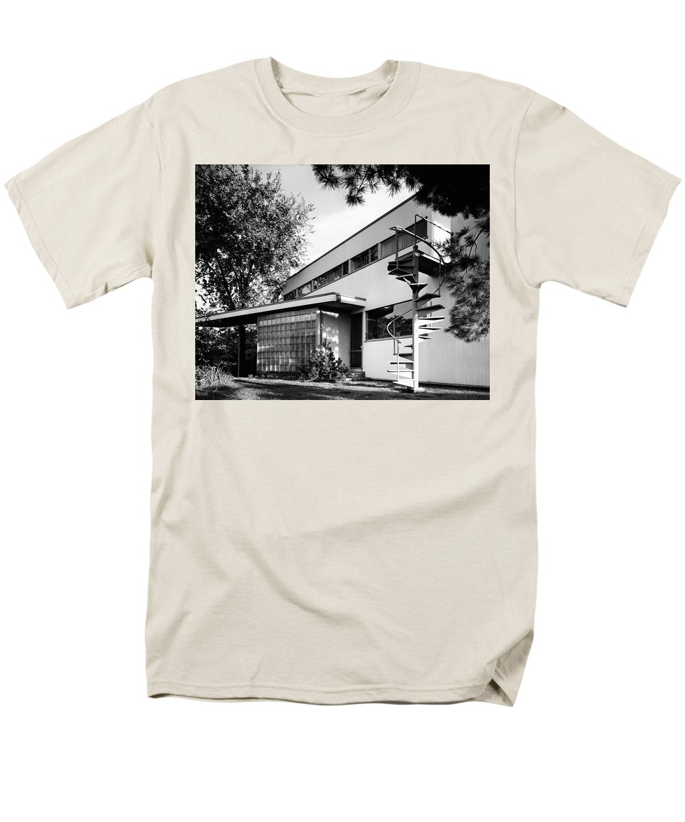Home Men's T-Shirt (Regular Fit) featuring the photograph Outdoor Spiral Staircase To The Roof-deck Of Mr by Robert M. Damora