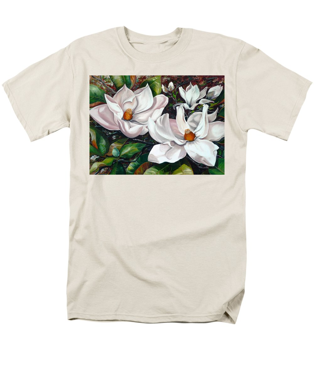 Magnolia Painting Flower Painting Botanical Painting Floral Painting Botanical Bloom Magnolia Flower White Flower Greeting Card Painting Men's T-Shirt (Regular Fit) featuring the painting Scent Of The South. by Karin Dawn Kelshall- Best