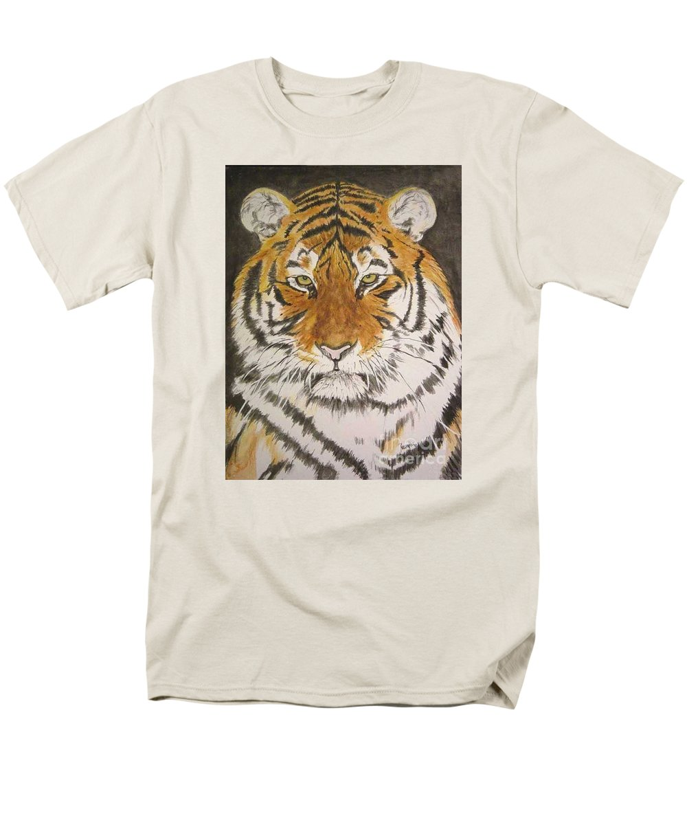 Siberian Tiger Men's T-Shirt (Regular Fit) featuring the painting Siberian Tiger by Regan J Smith
