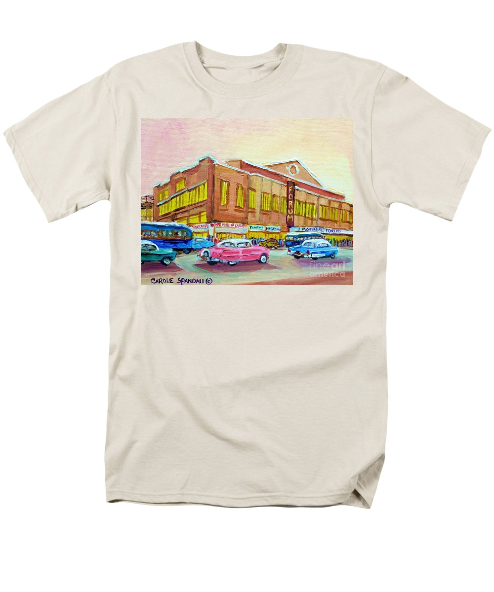 Montreal Men's T-Shirt (Regular Fit) featuring the painting The Montreal Forum by Carole Spandau