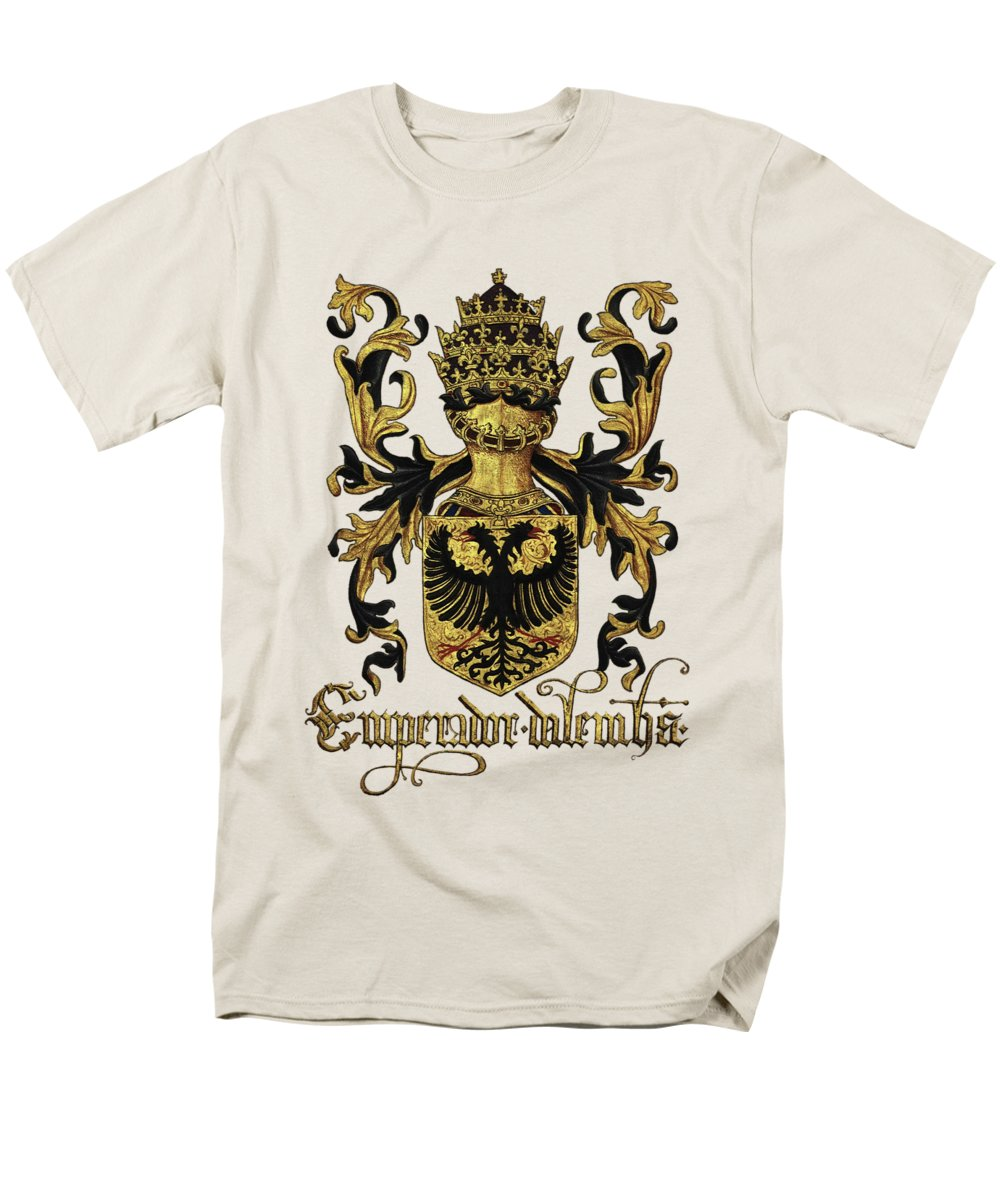 'roll Of Arms� Collection By Serge Averbukh Men's T-Shirt (Regular Fit) featuring the photograph Emperor Of Germany Coat Of Arms - Livro Do Armeiro-mor by Serge Averbukh