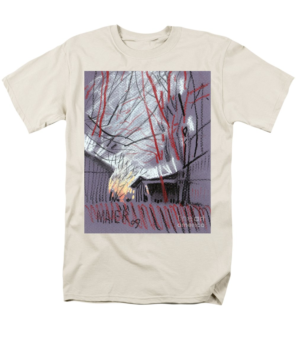 Pastel Men's T-Shirt (Regular Fit) featuring the drawing Grey Evening by Donald Maier
