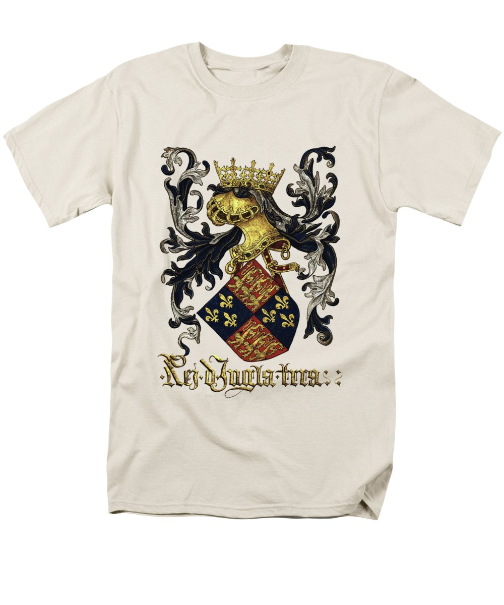 'roll Of Arms� Collection By Serge Averbukh Men's T-Shirt (Regular Fit) featuring the photograph King Of England Coat Of Arms - Livro Do Armeiro-mor by Serge Averbukh
