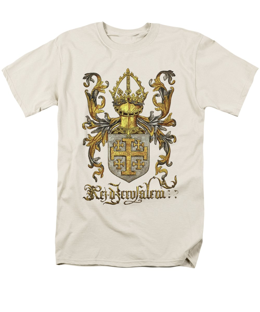 'roll Of Arms� Collection By Serge Averbukh Men's T-Shirt (Regular Fit) featuring the photograph Kingdom Of Jerusalem Coat Of Arms - Livro Do Armeiro-mor by Serge Averbukh