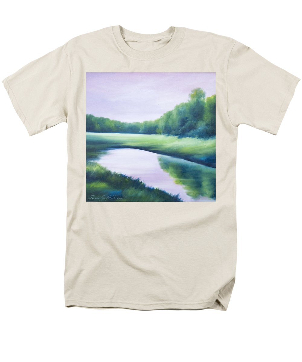 Nature; Lake; Sunset; Sunrise; Serene; Forest; Trees; Water; Ripples; Clearing; Lagoon; James Christopher Hill; Jameshillgallery.com; Foliage; Sky; Realism; Oils; Green; Tree; Blue; Pink; Pond; Lake Men's T-Shirt (Regular Fit) featuring the painting A Day In The Life 1 by James Christopher Hill