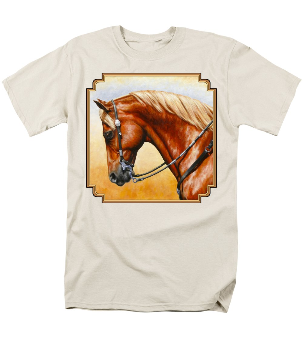Horse Men's T-Shirt (Regular Fit) featuring the painting Precision - Horse Painting by Crista Forest