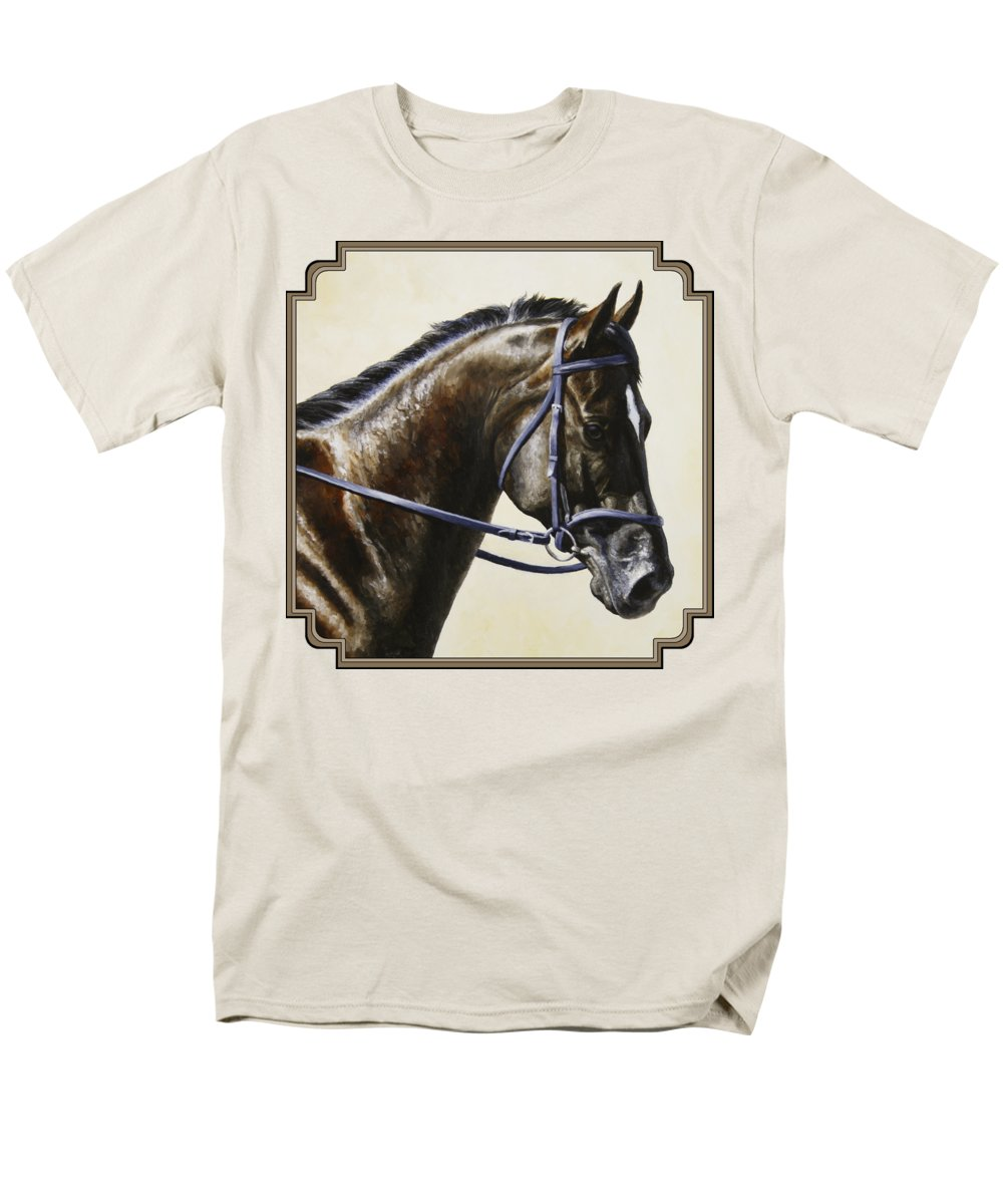 Horse Men's T-Shirt (Regular Fit) featuring the painting Dressage Horse - Concentration by Crista Forest